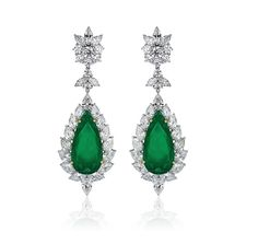 Colombian emerald earrings by Zela, which make up a one-off suite of jewels.