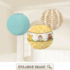 Yellow, blue and brown Lion King Baby Round Paper Lanterns, 3 per package