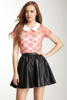 Contrast Collar Embroidered Short Sleeve Top by Gracia on @HauteLook