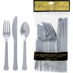 $2.99  Silver Premium Plastic Cutlery Set 24ct - Party City