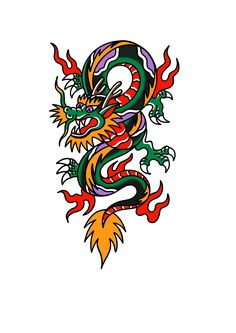 American traditional dragon tattoo - American traditional dragon tattoo - Best Picture For Tattoo Style sleeve For Your Taste You are looking for somet Pisces Tattoos, Wolf Tattoos, Star Tattoos, Body Art Tattoos, Sleeve Tattoos, Celtic Tattoos, Animal Tattoos, American Traditional, Traditional Ideas