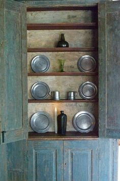 A House Romance: The Rough Luxe Appeal of Pewter Primitive Cabinets, Primitive Furniture, Primitive Antiques, Country Furniture, Country Decor, Vintage Furniture, Furniture Decor, Painted Furniture, Blue Furniture