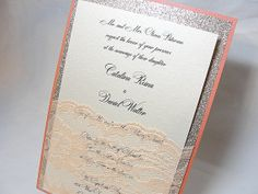 LALA1 Glitter and Lace Wedding Invitations por LavenderPaperie1