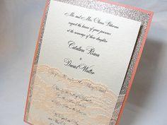 LALA1 Glitter and Lace Wedding Invitations por LavenderPaperie1