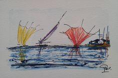 Oeuvre unique 34 au format carte postale : Peintures par pat29730