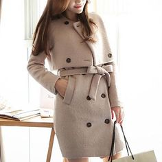moda lungo cappotto di lana due pezzi il mantello di Jansa donne – EUR € 56.17