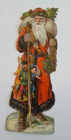 Traumhaft schöne Oblate Weihnachtsmann Rot er Mantel (Glanzbild Oblate) Um 1900