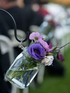 Purple, Pretty & simple Wedding Bells, Our Wedding, Dream Wedding, Wedding Events, Wedding Reception, Wedding 2015, Wedding Stuff, Aisle Flowers, Hanging Flowers