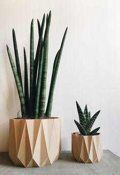 Pot / Planter design geometric / Low poly wood perfect for