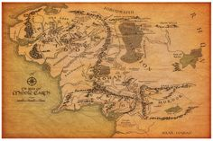 Poster Map of Middle Earth from The Lord of the Rings and The Hobbit  Decopage this on table