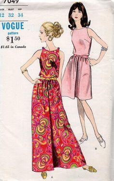 FREE US SHIP Vogue Sewing Pattern 7049 Vintage Retro 1960s 60s Ultra Mod Dress maxi Uncut 32 Size 10 Like New Original Uncut by LanetzLivingPatterns on Etsy