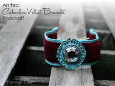 Anthro Cabochon Velvet Bracelet Knockoff