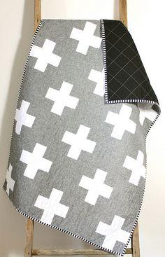 love the simplicity  essex linen cross quilt.   Flickr - Photo Sharing!