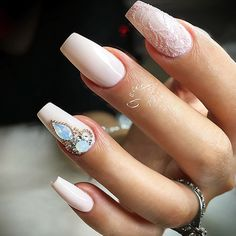 18 Nude Nails Designs for a Classy Look ★ Nude Nails with Rhinestones Picture 4 ★ See more: http://glaminati.com/nude-nails/ #nudenails #nudenailsdesigns