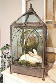 vintage lantern decorated for Spring