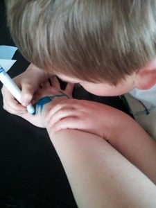 Drawing on Ourselves with Markers - Counting by 12s