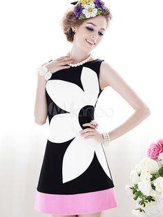 Belle mini robe douce multicolore color-block et col ras du cou - Milanoo.com