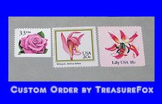 Reserved Custom Order for  Reserved Custom Order for  daniellechong2  .. Custom order of Vintage postage stamps with a pink flowers theme for mailing wedding invitations. #treasurefox, #vintagestamps, #vintagepostage, #prettystamps, #wedding, #pinkflowers sold on Etsy by TreasureFox