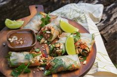 Peanut Sesame Chicken Rice Paper Rolls Makes 10-12 | Preparation time 10 minutes | Cooking and Assembly time 20 minutes WHAT YOU'LL NEED 2 Tbsp olive oil 4 chicken breasts, sliced against the grain into 1cm slivers 1 cup mange tout or snap peas, thinly sliced lengthways