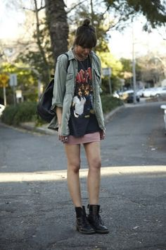 Long tee, layered over a fitted skirt and warmed up with a boyfriend's shirt. Adorable.