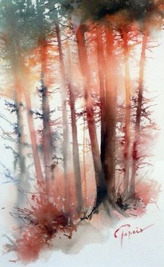 Use of red/orange watercolour greatly captures sunlight gleaming through a foggy forest.