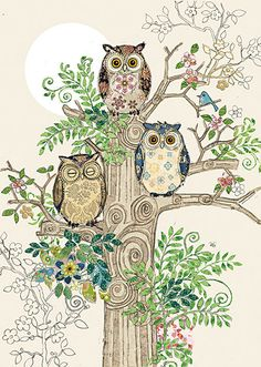 BugArt Collage ~ Owls Tree Stump. Collage *NEW* Designed by Jane Crowther.