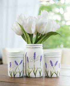 Lavender Flower Painted Mason Jars  WIDE MOUTH Painted
