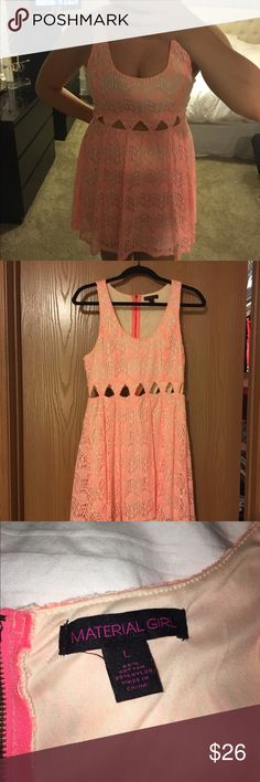 Coral lace cut-out dress Material Girl lace dress with cut-outs around the waist • Coral color • Size L • Zips up the back • Purchased from Macy's • Worn once! Material Girl Dresses Mini