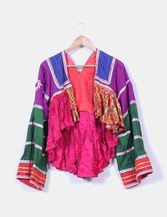 Chaqueta estampada multicolor y diferentes telas NoName