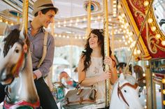 Vintage Colorful Carousel Wedding Engagement Session by sheachristine.com