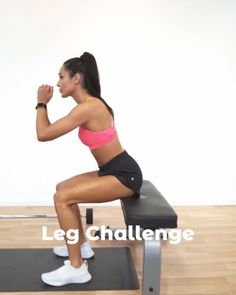 Leg Challenge for women. This workout will seriously put your legs to the test! You only need a bench and a barbell. Hiit Leg Workout, Gym Workout Videos, Easy Workouts, Fitness Workout For Women, Body Fitness, Physical Fitness, Leg Challenge, Bench, Kayla Itsines