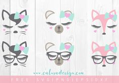 Download FREE Lovely Animal Faces SVG, PNG, DXF & EPS file for your DIY project. Files compatible with Cricut, Cameo Silhouette Studio!