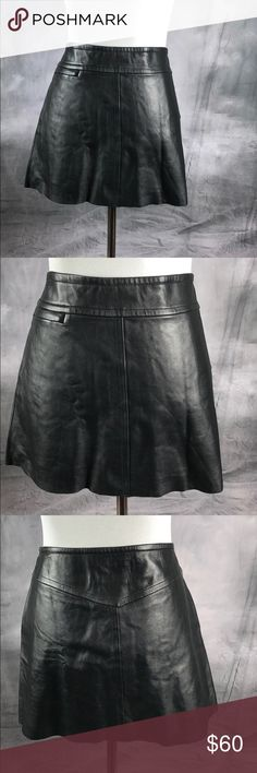 "{BCBG Maxazria} Leather Mini Skirt *Preowned *Good Condition  *Size 6 *100% Leather  *Side Zipper  with hook and eye for closure  * Small Pocket with Zipper On Front of Skirt *Fully lined *Length is Approx 14"" BCBGMaxAzria Skirts Mini"
