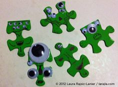 Aliens SWAP GnG — Gather up old puzzle pieces and make a few aliens. You can change what you add to the back and make fridgies, SWAPs or just trade them. [PDF download] larajla.com