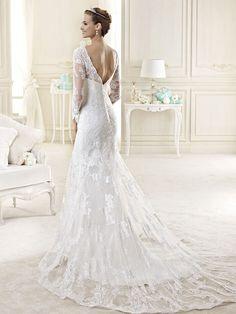 Trumpet/Mermaid Scoop Long Sleeves Lace Court Train Wedding Dresses