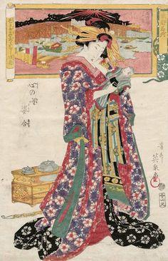 Kokoro no nazo sugato awase. Ukiyo-e woodblock print, about 1830's, Japan, by artist Keisai Eisen.