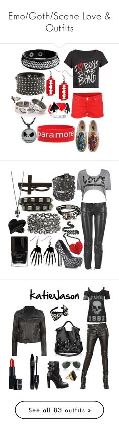 """""""Emo/Goth/Scene Love & Outfits"""" by maria-iilov3yuhhii-noor ❤ liked on Polyvore featuring Hudson Jeans, Poizen Industries, Ryder, Wet Seal, ASOS, Balmain, Yves Saint Laurent, Topman, Butter London and Nine West"""