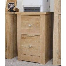Torino Oak Furniture 2 Drawer Filing Cabinet
