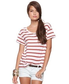 Fab Striped Boyfriend Tee - Tops - Knit - 2078968157 - Forever21 - StyleSays
