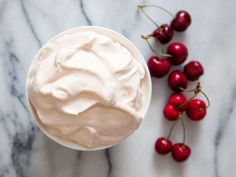 Cherry pit whipped cream from Serious Eats Köstliche Desserts, Delicious Desserts, Dessert Recipes, Recipes With Whipping Cream, Cream Recipes, Yummy Treats, Sweet Treats, Cherry Recipes, Hash Tag