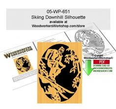 05-WP-651 - Skiing in Powederl Scrollsawing Woodworking Downloadable Pattern PDF This #skier has the mountain to themselves as they carve through freshly fallen #snow. This scroll saw silhouette pattern is a good woodworking plan for beginners to practice cutting tight spots and quick turns. Create a plaque silhouette like you see here or incorporate into a project like a lid on a box or a panel on a door.