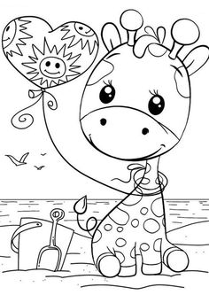 Giraffe Coloring Pages, Cute Coloring Pages, Disney Coloring Pages, Coloring Pages To Print, Adult Coloring Pages, Coloring Books, Free Printable Coloring Sheets, Coloring Sheets For Kids, Art Drawings For Kids