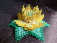 How to make 3d origami lotus - YouTube
