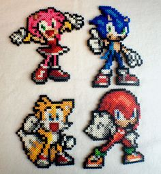 Sonic Amy Rose Knuckles and Tails Perler by SuperOnigiriDesigns  These guys are adorable!