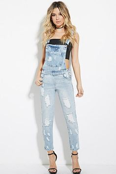 $34.90  Distressed Denim Overalls | Forever 21 - 2000151116