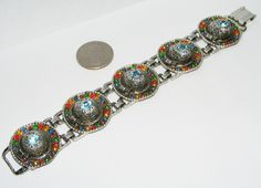 Vintage Rhinestone SOMBRERO Hat BRACELET costume jewelry whimsical figural FUN