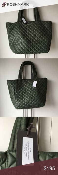 """MZ Wallace Hunter Green Nylon Medium Metro Tote Brand new with tags NWT - never worn. Classic Mzw Medium Metro tote. Hunter green oxford Nylon shoulder bag. Silver hardware. Comes with interior pouch. Dimensions: 11.75"""" l x 9.5"""" w x 13"""" h, 9"""" handle drop MZ Wallace Bags Totes"""