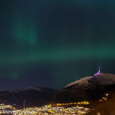 Northern lights over Bergen in December:D  I caught the live show yesterday (Mon Dec 14th 2015) and Steve Snoots captured this sweet picture of it