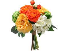 Artificial Rose/Hydrangea/Snowball Bouquet in Yellow Orange and White - 12in. Tall
