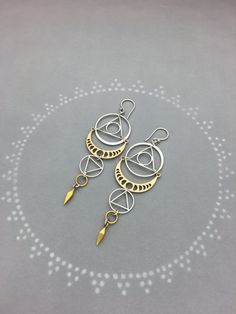 Sacred Geometry Earrings with Phases of the Moon and Small Geometric Spike